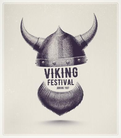 vikingo: Vikingo casco y barba, festival vikingo Jorvik Vectores