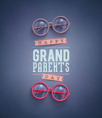 boy with glasses: Happy Grandparents Day, greeting card  Illustration
