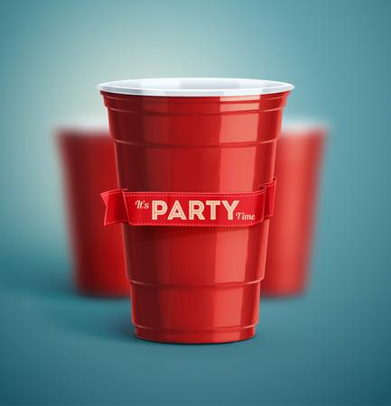 Tasses rouges, il est temps de fête Banque d'images - 44258842