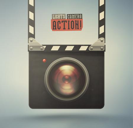Clapper board and video camera