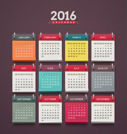 kalendarz: Kalendarz 2016, tydzień zaczyna się w poniedziałek, Ilustracja