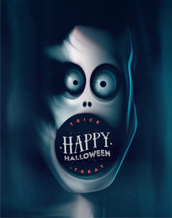 demon: Happy Halloween, greeting card with monster,