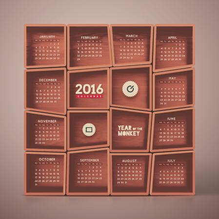 2016 Calendar, week starts on monday,  Ilustrace