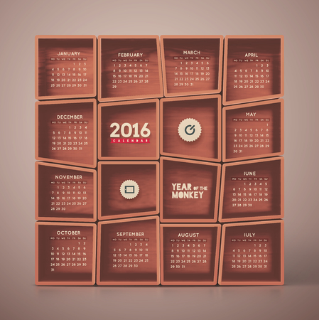 2016 Kalender, beginnt die Woche am Montag,