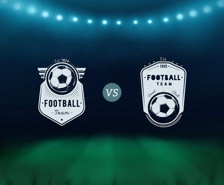 ballon foot: Badge de football, stade de football, Banque d'images