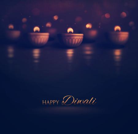 Glückliches Diwali, Brennen diya, eps 10