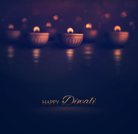 religious text: Happy Diwali, burning diya, eps 10 Stock Photo