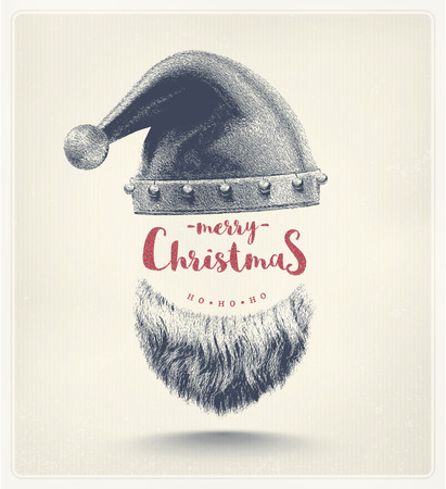 claus: Santa hat and beard, Merry Christmas, eps 10