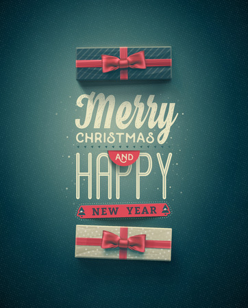 Merry Christmas and Happy New Year, greeting card, eps 10 Vettoriali