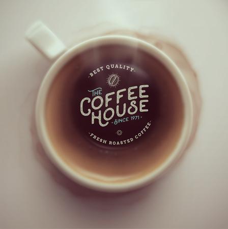 Šálek kávy, pohled shora, kavárna, eps 10 Ilustrace