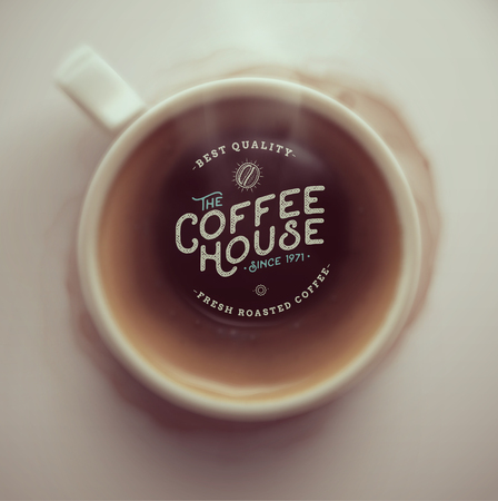 Kaffeetasse, Draufsicht, Kaffeehaus, eps 10 Illustration