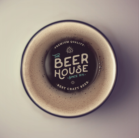 Dark beer cup, top view, beer house, eps 10 Çizim
