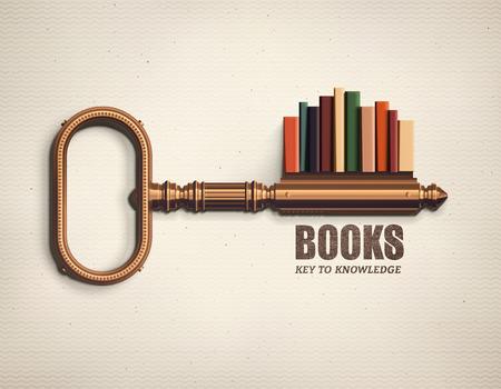 Bücher, Schlüssel zum Wissen Illustration