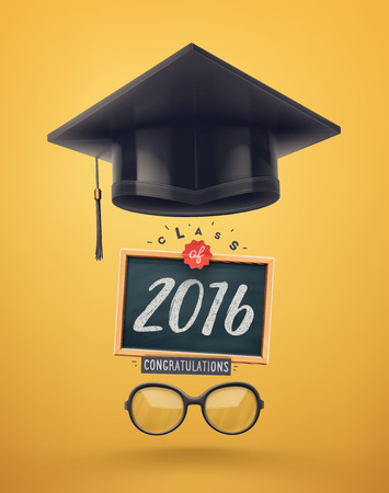 Class of 2016, graduation, Stock Illustratie