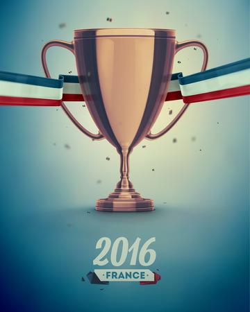 サッカー カップ、ユーロ 2016年フランス eps 10  イラスト・ベクター素材