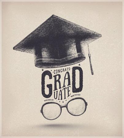 Glückwünsche auf Staffelung, graduierten Kappe und Brille, eps 10