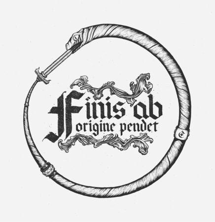 Ouroboros, serpent absorbing sword. Hand drawn vector.