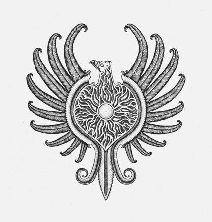 Phoenix, mythological bird. Hand drawn vector. Ilustração
