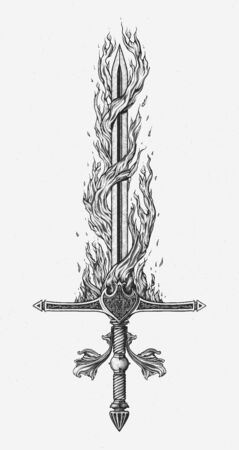 With Fire and Sword. Hand drawn vector.