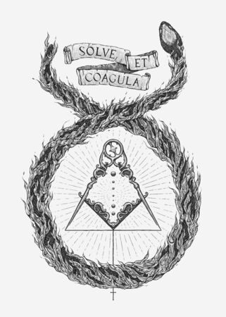 Alchemical Marriage. Hand drawn vector.
