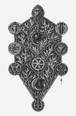 Kabbalistic tree of life engraving vector illustration. Çizim