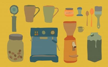 coffee sack: espresso machine and tools Illustration