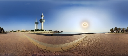 kuwait: Kuwait towers against the sun in early morning hours
