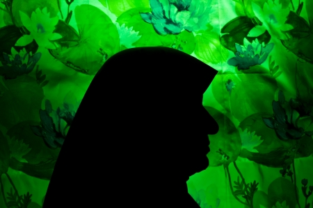 A silhouette of a mother wearing hijab against green background  photo
