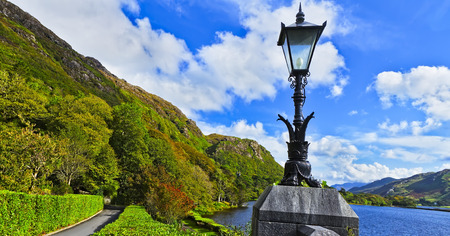 lough: A view for the passage in front of Kylemore abbey and Lough Pollacapall. Co. Galway. Ireland.