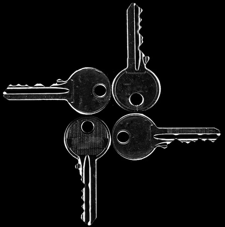A set of four keys, shot with rim lighting,  in black and white with one key being different from the rest.