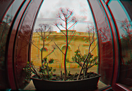 3D anaglyph for a flower pot by a window in a rainy day in Qala, Gozo, Malta. Suitable for printing or viewing on monitor (with 3D anaglyph glasses).
