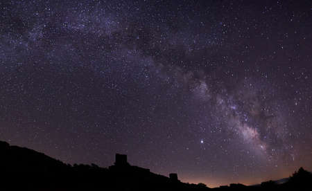 panoramic view of the milky way in the majestic of zafra in the province of guadalajara Stock Photo