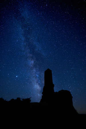 nice view of contrasts of the via lactea and the castle tower of zafra in the province of guadalajara in spain