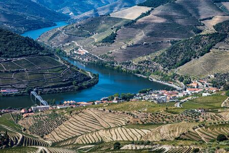 High angle view of the vineyards and the Douro River at Pinhao, Portugal.