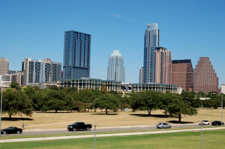 skyline in downtown of austin, texas photo