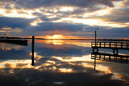 houston: sunrise in clear lake bay, houston