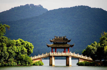 a very famous pavilion bridge-yu dai qiao  jade belt  - in west lake, hangzhou, china was built in song dynasty and rebuilt in qing dynasty