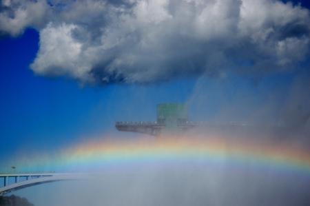 A rainbow with rainbow bridge connected usa and canada photo