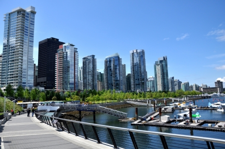 vancouver: Vancouver seawall and skyline Editorial