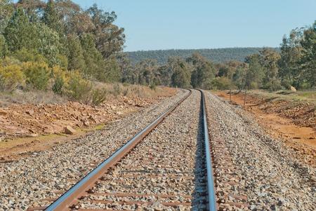 closeup of railway line curves around a bend photo