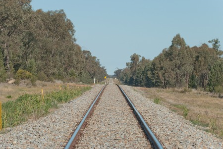 disappears: a railway line disappears into the distance