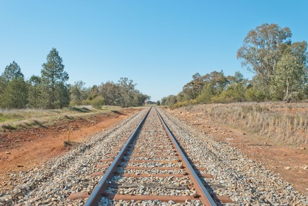 disappears: a railway line disappears into the distance and a railway crossing