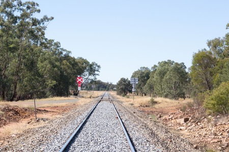 peice: a railroad crossing on a straight peice of railway line in rural Australia