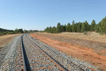 a train track curves through trees in the country on a sunny day