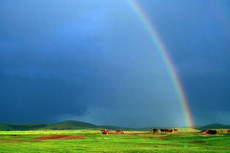 inner mongolia: China Inner Mongolia Grassland Rainbow Ranch