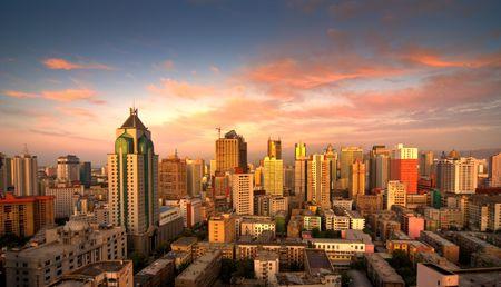 Under the sunset of Urumqi in Xinjiang China