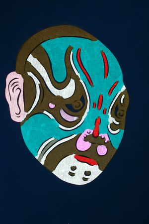 Chinas traditional drama, Peking Opera facial makeup of the blue background Stock fotó
