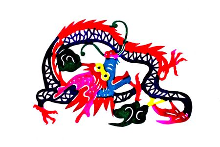 Chinese folk art paper cutting - loong