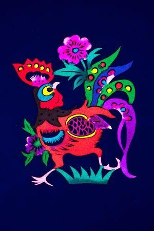 Chinese folk paper-cut - Zodiac Chicken Stock Photo - 4323040