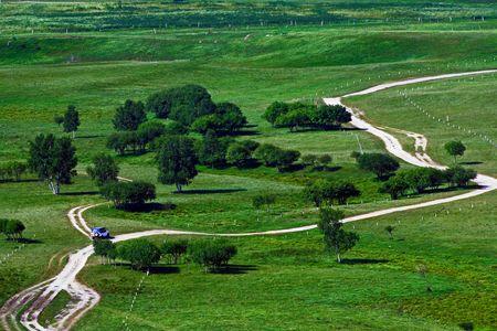 inner mongolia: The way in Chinas Inner Mongolia grassland